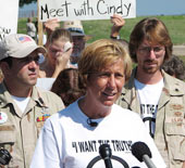 Cindy Sheehan meeting the press at Camp Casey